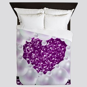 heart of pearls, purple Queen Duvet