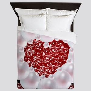 heart of pearls,red Queen Duvet