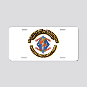 1st Bn - 4th Marines with Text Aluminum License Pl