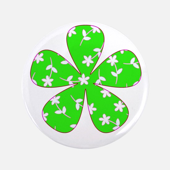"St. Patricks Day Patterned Floral 4Abb 3.5"" Button"