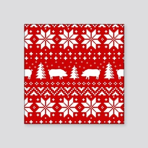 """Holiday Pigs Square Sticker 3"""" x 3"""""""