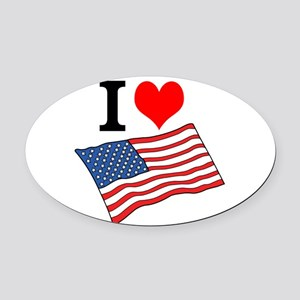 I Love USA Oval Car Magnet
