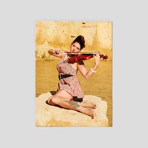 Woman playing violin  5'x7'Area Rug