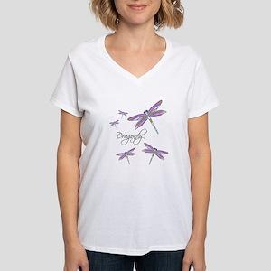 Dragonfly Flowers Women's V-Neck T-Shirt