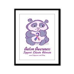Autism Purple Bear Framed Panel Print