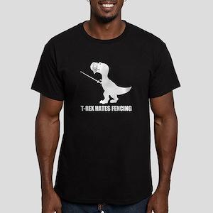 T-Rex Hates Fencing Men's Fitted T-Shirt (dark)