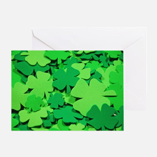 Lucky green clovers Greeting Card