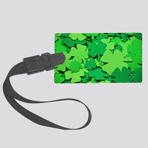 Lucky green clovers Large Luggage Tag