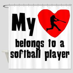 My Heart Belongs To A Softball Player Shower Curta