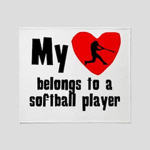 My Heart Belongs To A Softball Player Throw Blanke