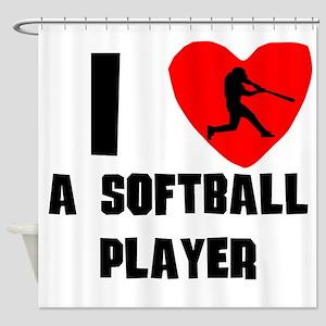 I Heart A Softball Player Shower Curtain