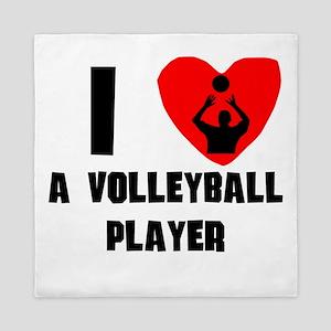 I Heart A Volleyball Player Queen Duvet