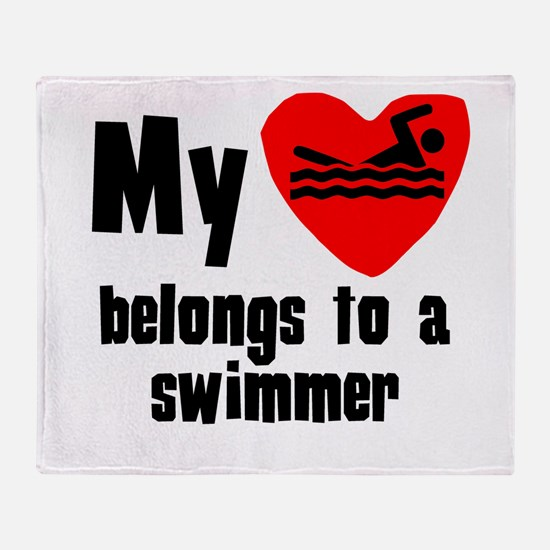 My Heart Belongs To A Swimmer Throw Blanket