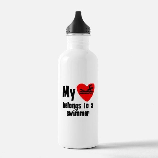 My Heart Belongs To A Swimmer Sports Water Bottle