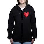Red Teacher Heart Zip Hoodie
