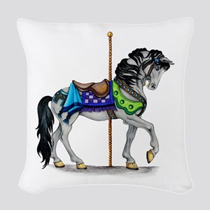 The Carousel Horse Woven Throw Pillow
