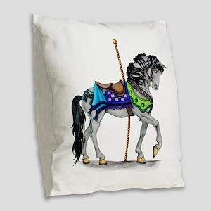 The Carousel Horse Burlap Throw Pillow