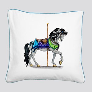 The Carousel Horse Square Canvas Pillow