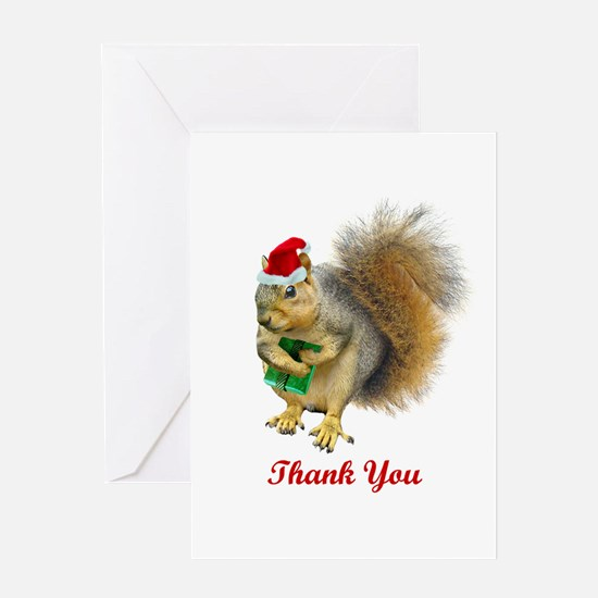 Christmas Squirrel Thank You Greeting Cards