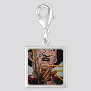 Freddy and Pencils Silver Square Charm