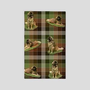 Cute Leonberger Dog Tartan 3'x5' Area Rug