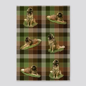 Cute Leonberger Dog Tartan 5'X7'area Rug
