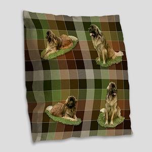 Cute Leonberger Dog Tartan Burlap Throw Pillow