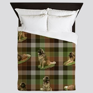 Cute Leonberger Dog Tartan Queen Duvet