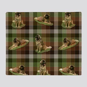 Cute Leonberger Dog Tartan Throw Blanket