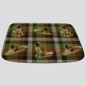 Cute Leonberger Dog Tartan Bathmat