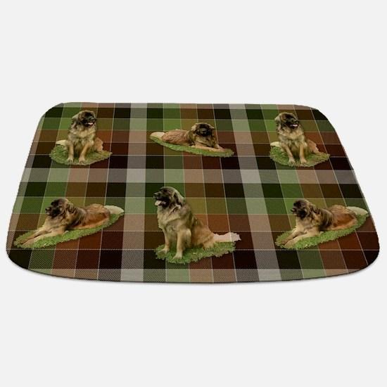 Cute Leonberger Dog Tartan Bathmat