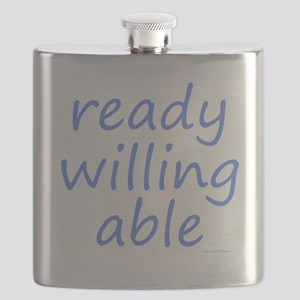 ready willing able blue Flask