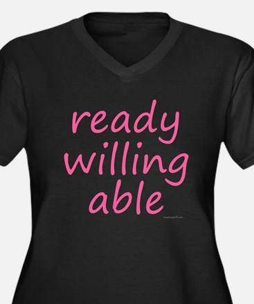 ready willing able pink Women's Plus Size V-Neck D