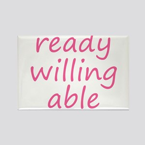 ready willing able pink Rectangle Magnet