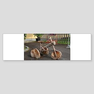 Caveman wooden bicycle Bumper Sticker