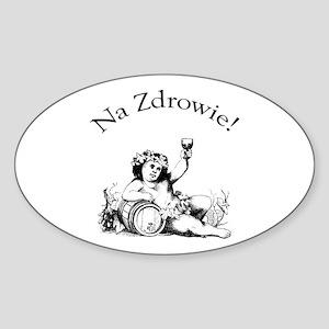 Polish Toast Wine Oval Sticker