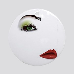 Womans Face Round Ornament