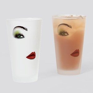 Womans Face Drinking Glass