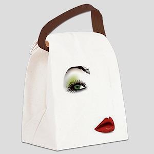 Womans Face Canvas Lunch Bag