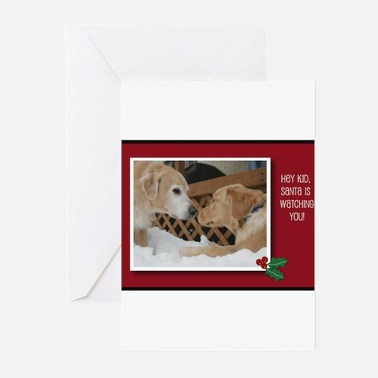 Kissing Golden Retriever Christmas Card Greeting C