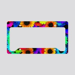 Colorful Sunflowers in a Rain License Plate Holder