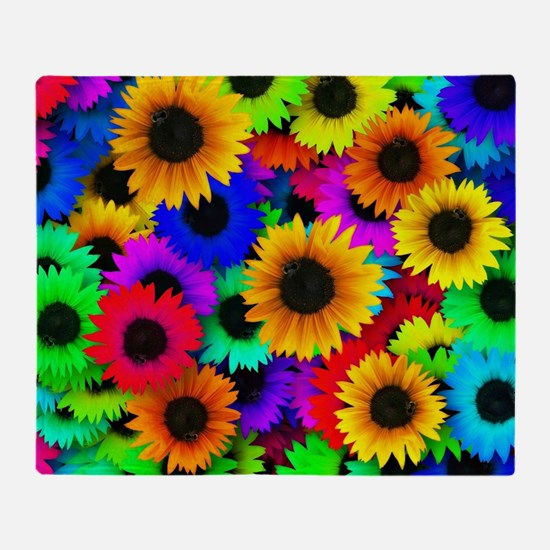 Colorful Sunflowers in a Rainbow of  Throw Blanket