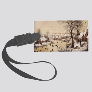 Winter Landscape by Pieter Brueg Large Luggage Tag
