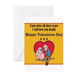 Valentines print (older couple) Greeting Cards