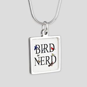Bird Nerd Silver Square Necklace