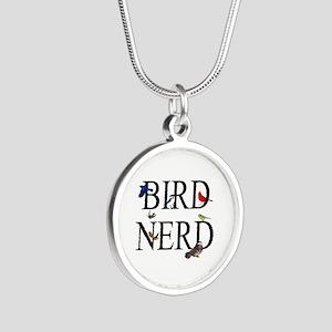 Bird Nerd Silver Round Necklace