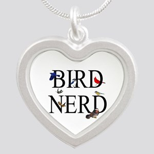 Bird Nerd Silver Heart Necklace