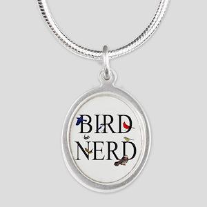 Bird Nerd Silver Oval Necklace