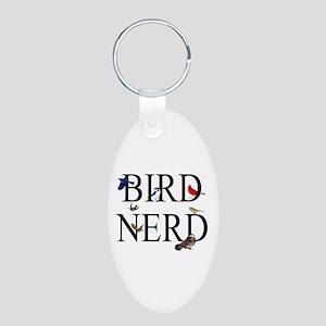Bird Nerd Aluminum Oval Keychain