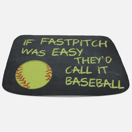 Chalkboard If Fastpitch Was Easy Bathmat